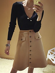 cheap -Women's Vintage Cute Pencil Skirts - Solid Colored Geometric