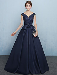 A-Line V-neck Floor Length Jersey Formal Evening Dress with Sash / Ribbon by MYF