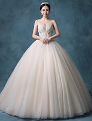 vestido de baile strapless tribunal trem laço organza tulle lantejoulas vestido de casamento com beading by bflower