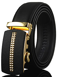 Men's Simple High Quality Leather Alloy Automatic Buckle Waist Belt Work / Casual Leather All Season