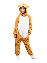 kigurumi Pyjamas Ours Collant/Combinaison Fête / Célébration Pyjamas Animale Halloween Orange Couleur Pleine Polaire Pour Enfant