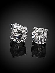 Feminino Brincos Curtos Zircão Zircônia Cubica Cobre Prata Chapeada Imitações de Diamante Formato Circular Forma Geométrica Jóias Para