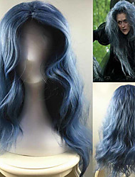 cheap -Synthetic Wig / Cosplay & Costume Wigs Water Wave Synthetic Hair Middle Part Blue Wig Women's Long Capless