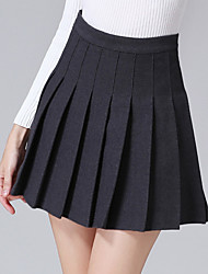 Women's Swing Solid Pleated Woolen All Match SkirtsGoing out / Casual/Daily Simple / Street chic High Rise Above Knee Elasticity
