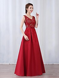 A-Line V-neck Floor Length Satin Sequined Prom Formal Evening Military Ball Dress with Bow(s) Sash / Ribbon Sequins by Yaying