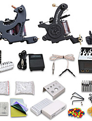 Kit de tatouage complet 2 x Machine à tatouer en fonte pour le traçage et l'ombrage 2 Machines de tatouage LCD alimentationEncres