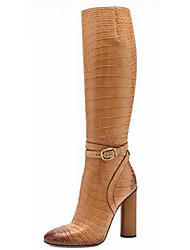 cheap -Women's Shoes Leather Spring / Fall / Winter Chunky Heel 30.48-35.56 cm / Knee High Boots 1# / 2# / 3#