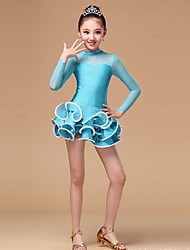Shall We Danse latine Robes Enfant Spectacle Chinlon Tulle Volants Manche longue Taille haute Robe