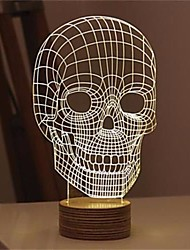 Halloween 3D Illusion Skull Bulbing LED Night Light Bedroom Table Desk Lamp Deco