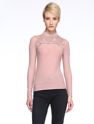 cheap -Spring Plus Size Women's Embroidered Lace Splice Gauze Stand Collar Long Sleeve Slim T-Shirt Tops Blouse