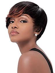 Χαμηλού Κόστους -Συνθετικές Περούκες Σγουρά Στυλ Περούκα Μαύρο Μαύρο Συνθετικά μαλλιά Ανδρικά / Γυναικεία Μαύρο Περούκα Κοντό Φυσική περούκα
