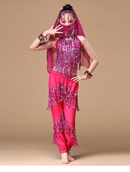 cheap -Belly Dance Outfits Children's Performance Polyester Paillettes 6 Pieces Sleeveless Dropped Top Pants Gloves Veil Headpieces