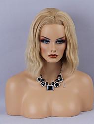 Donna Parrucche di capelli umani con retina Cappelli veri Lace frontale Densità Ondulati Parrucca Media Auburn Strawberry Blonde / Medium
