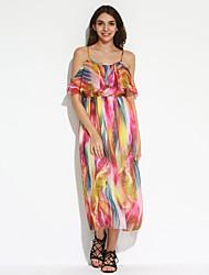 cheap -Women's Beach Boho Swing Dress,Print Strap Maxi Sleeveless Blue / Orange Polyester Summer