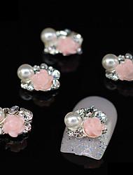 abordables -10pcs rose fleur groupe accessoires en alliage de bricolage nail art décoration