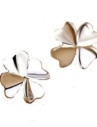 cheap -2016 Korean Unisex 925 Silver Sterling Silver Jewelry Zircon Earrings Lucky Clover Stud Earrings 1Pair