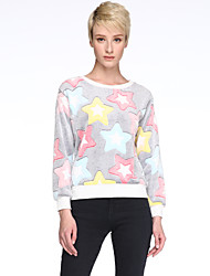 cheap -Winter Women's Color Stars Pattern Polar Fleece Long Sleeved Pullover T-Shirt Hippocampal Wool Blouse Tops
