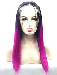 cheap -Synthetic Lace Front Wigs Black Roots Purple Ombre Synthetic Wig Cosplay Wig
