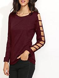 preiswerte -Damen Solide Einfach Lässig/Alltäglich T-shirt,Rundhalsausschnitt Langarm Schwarz Polyester