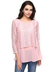 cheap -Women's Lace Spring Slim Stitching Lace Chiffon Shirt