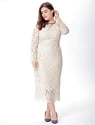 cheap -SWEET CURVE Women's Lace Plus Size Vintage Dress,Solid V Neck Maxi Long Sleeve Beige Black Polyester Spandex Spring Mid Rise Micro-elastic Medium