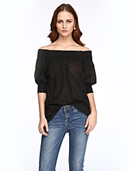 cheap -Women's Off The Shoulder Solid Racerback Chiffion Casual Street chic All Match Off-The-Shoulder Fashion Blouse ,Boat Neck Short Sleeve