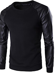 Men's Sports Casual/Daily Simple Winter T-shirt,Solid Round Neck Long Sleeve Polyester Thick