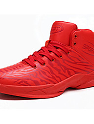 Basketball Shoes Men's Athletic Shoes Comfort PU Spring Fall Outdoor  Comfort Lace-up Flat Heel Ruby Black/White Flat