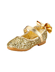 Girl's Flats Spring Summer Fall Flower Girl Shoes Glitter Wedding Outdoor Party & Evening Dress Casual Flat Heel Bowknot Gold Sliver
