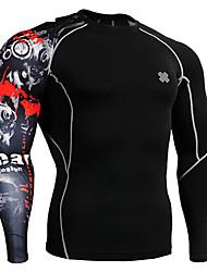 Per uomo T-shirt da corsa Manica lunga Asciugatura rapida Traspirante Abbigliamento a compressione Set di vestiti per Esercizi di fitness