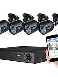cheap -JOOAN® Security System 1080N 8CH DVR Recorder Support AHD/TVI/CVI/CVBS And 4pcs Weatherproof TVI 1080P Camera