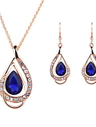 cheap -Women's Crystal Synthetic Ruby Hollow Out Jewelry Set - Crystal Include White / Red / Blue For Wedding Party / 2pcs / Necklace