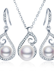 Jewelry Set Wedding Party Daily Casual Pearl Imitation Pearl Rhinestone Imitation Diamond Alloy 1 Necklace 1 Pair of Earrings