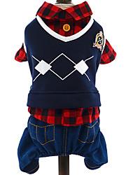billige -Hund Bluser Hundetøj Britisk Rød / Blå Polarfleece Kostume For kæledyr Herre Afslappet / Hverdag