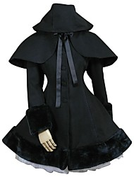 cheap -Coat Gothic Lolita Classic/Traditional Lolita Princess Vintage Inspired Elegant Victorian Rococo Cosplay Lolita Dress Black Solid Long