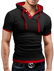 preiswerte -Herren Solide Einfach Aktiv Ausgehen Lässig/Alltäglich T-shirt,Hemdkragen Sommer Kurzarm Blau Rot Schwarz Grau Baumwolle Mittel