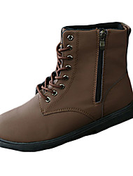 cheap -Men's Boots Fall / Winter Comfort PU Casual Flat Heel Lace-up Black / Brown / Yellow