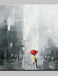 cheap -Large Hand Painted Modern Abstract Rain Days In The Street Oil Painting On Canvas Wall Art Pictures For Home Decoration Ready To Hang