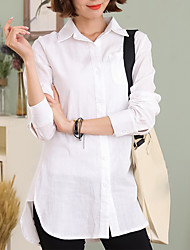 cheap -Women's Daily Work Casual Spring Fall Shirt,Solid Shirt Collar Long Sleeves Cotton Linen Thin