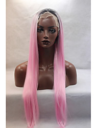 Straight Cheap Synthetic Ombre Pink Wig Fashion High Quality Heat Friendly Beautiful Long Pink Lace Wig On Sale