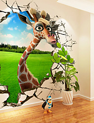 cheap -JAMMORY 3D large - scale Murals Wallpaper Giraffe Cartoon Boys and Girls Background Wallpaper Seamless Wall Covering XL XXL XXXL