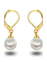 cheap -Women's Girls' Hoop Earrings Pearl Pearl Sterling Silver Imitation Pearl Platinum Plated Gray Pearl Jewelry For Wedding Party Daily Casual