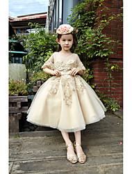 Robe de bal longueur de thé robe de fille fleur - dentelle tulle sans manches v-cou avec perles