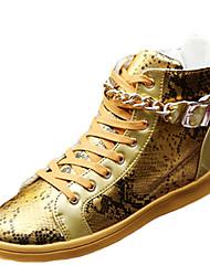 Da uomo-Sneakers-Casual-Comoda-Piatto-Tulle PU (Poliuretano)-Nero Grigio Dorato