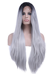 cheap -Heat Resistant Synthetic Lace Front Wigs Straight Hair Ombre Two Tone Black/White Color Synthetic Hair Fiber Wig For Woman