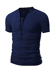 abordables -Hombre Simple Noche Casual/Diario Verano Camiseta,Escote Redondo Un Color Manga Corta Algodón Azul Blanco Negro Gris Verde Medio