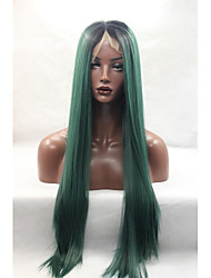 High Quality Synthetic Hair Dark Green Ombre Wig For Women Deep Part Long Silk Straight Synthetic Lace Front Wigs Heat Resistant