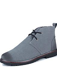 cheap -Men's Boots Winter Comfort PU Casual Flat Heel Lace-up Black / Blue / Gray
