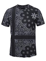 Masculino Camiseta Férias Para Noite Casual Boho Moda de Rua Punk & Góticas Verão,Estampado Preto Poliéster Decote Redondo Manga Curta