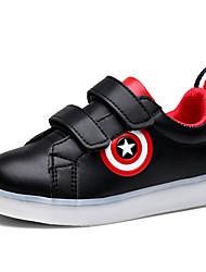 Boy's Sneakers Spring Fall Comfort PU Casual Flat Heel Magic Tape LED Black White Walking